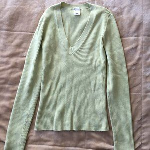 Old Navy Light Green V-Neck Sweater